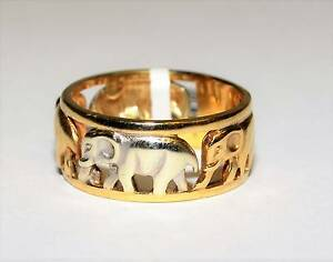 9k Yellow & White Gold Elephant Ring 8mm Wide Two Tone Band Ipswich Ipswich City Preview