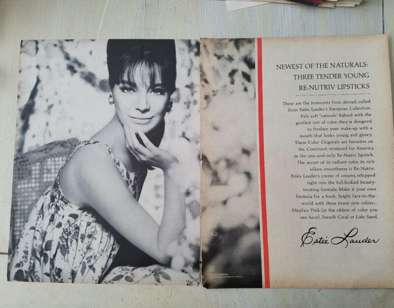 1966 Estee Lauder re-nutriv lipsticks Skrebneski photo cosmetic ad
