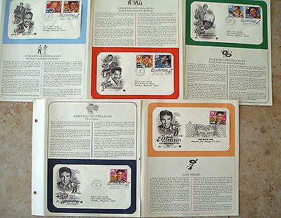 5 FDC's stamp # 2721, 2724-2730 29 c Rock'n'Roll Rhythm Blues Music Elvis 1993