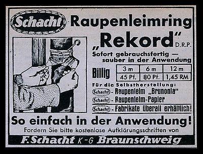 Alte Werbung Reklame 1937 Raupenleimring Rekord F. Schacht Braunschweig