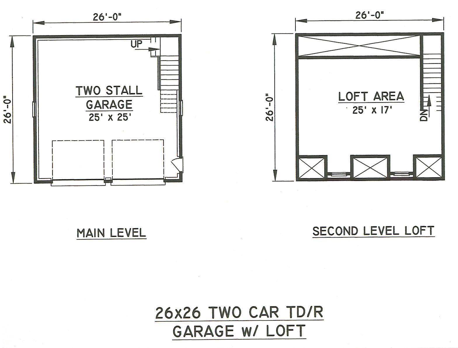 26x26 2 car tdormer rd garage building blueprint plans for 2 car garage plans with loft