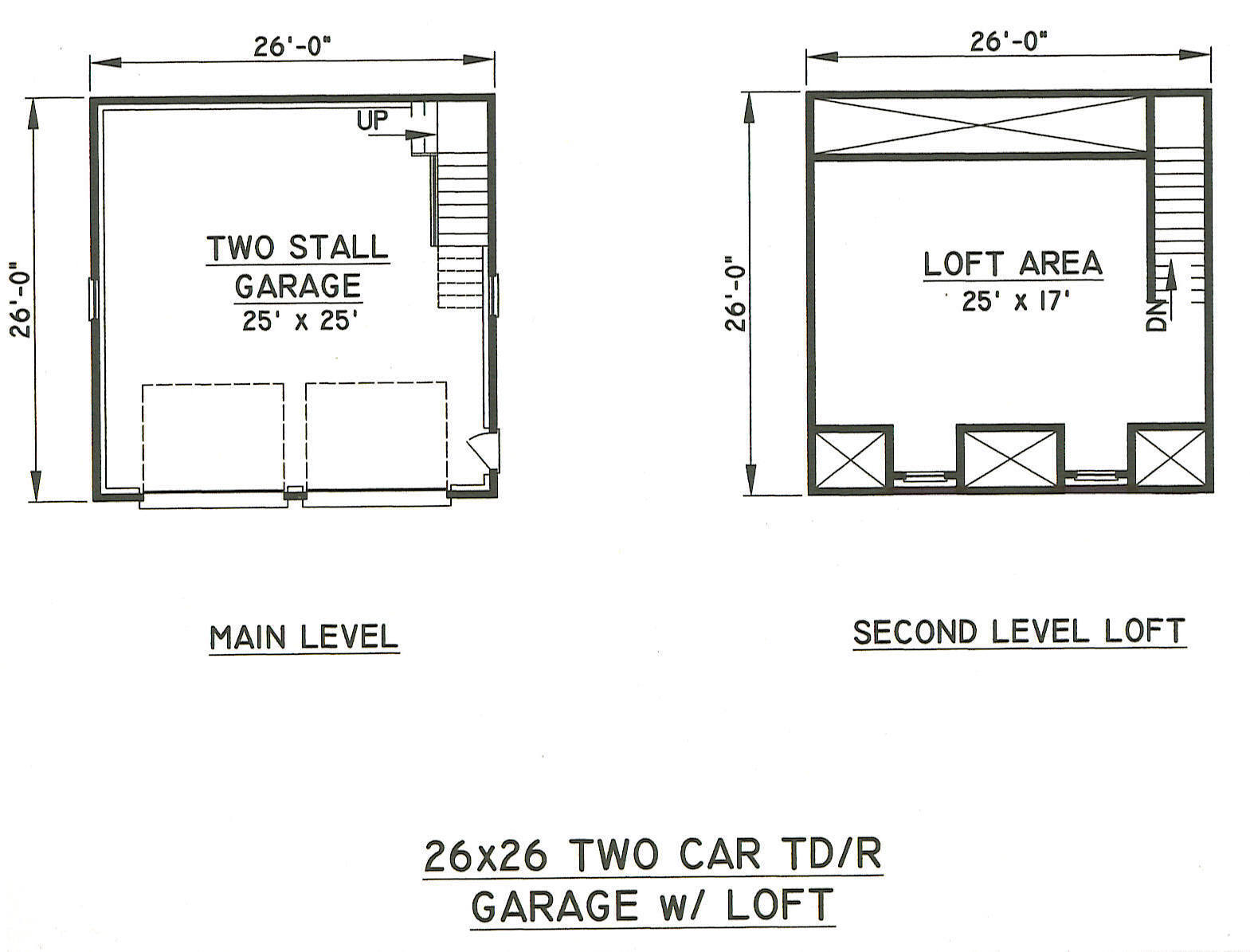 26x26 2 Car Tdormer Rd Garage Building Blueprint Plans
