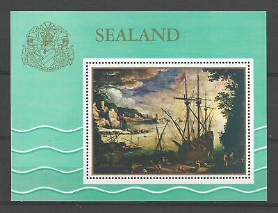 Sealand 1970  Painting-Ships in Port  MNH Souvenir Sheet-Fantasy Issue
