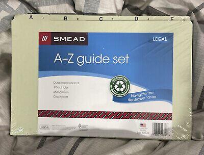 Smead 100 Recycled Pressboard File Guides 15-cut Tab A-z Letter Size Set Of