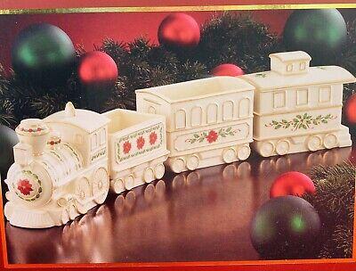 Lenox - Santa's Visit - Musical Train 4 Piece Set - Candy / Condiment Dish NIB