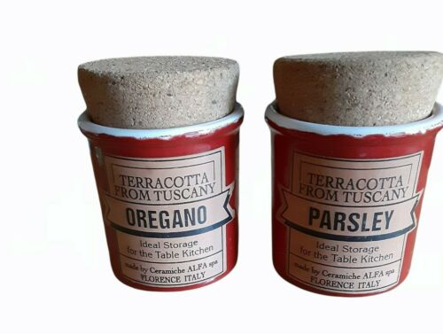 Set of 2 Red Terracotta From Tuscany Spice Jars Oregano and Parsley