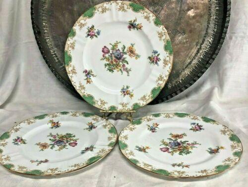 "Crown Fine Bone China~Staffordshire Three Pattern # 15984 10 1/2"" Dinner Plate"