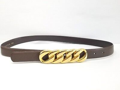 Doncaster Brown Leather Chain Bar Buckle Button Closure Belt -
