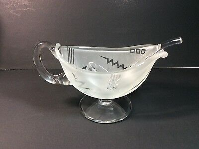Robert McCandless Glass Frosted Geometric Design Signed Gravy/Sauce Boat & Ladle