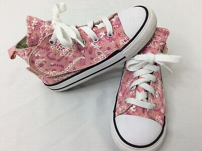 Flower Girls Shoes White (Converse All Star Pink & White Flowers Girls Youth Size 10 Skateboard Shoes)