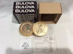 VINTAGE BULOVA TRAVEL DESK ALARM CLOCK GOLD $20 COIN LADY LIBERTY 1907 IN BOX