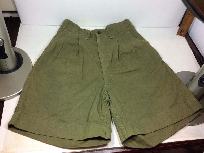 AUTHENTIC VINTAGE 1940'S-1950'S BOY SCOUT SHORTS SZ 26 RARE PLEATED OLIVE GREEN