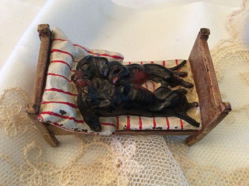 Minitaure Cast Iron Dogs Sleeping Bed  Vtg Signed Austria