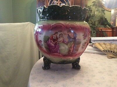 antique French Hand Painted Sevres Style Cachepot