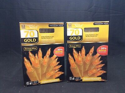 Holiday Seasons Christmas Lights 15.8 ft Indoor/Outdoor Gold(Rare)  ( Lot Of 2 ) ()