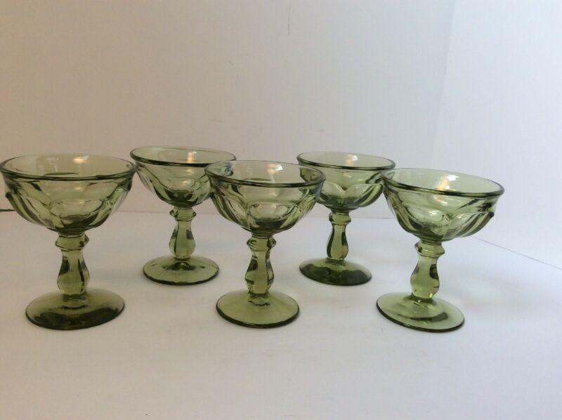 Imperial Old Williamsburg Olive Green Verde Sherbet Champagne Goblets 5