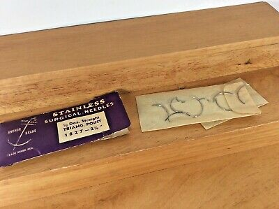 Vtg 14 Asst Suture Needles Surgical Circlestraight Taper Point Stainless Usa