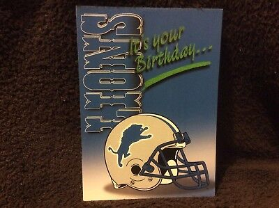 Detroit Lions Birthday Greeting Card - NOS  From The Late 90s - Detroit Lions Birthday