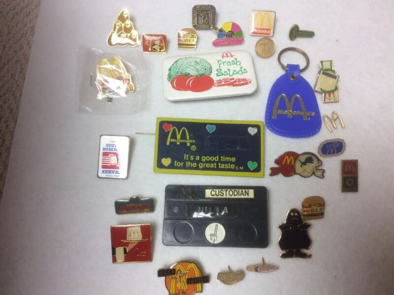 Vintage McDonalds Rare Employee ,security, Manager Collectible Pins Lot Of 26