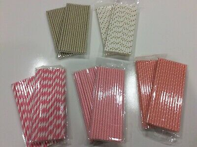 "Gold and Pink White Stripe and Chevron Paper Straws 7.75"" Lot of 250 Straws NEW (Pink And White Polka Dot Paper)"
