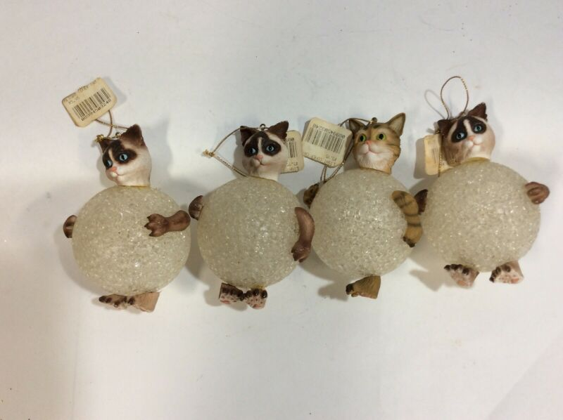Vintage Christmas Cat  Ornament Light Cover Lot Of 4