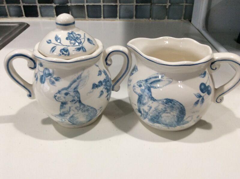 Maxcera Bunny Blue And White Toile  New Sugar Bowl And Creamer