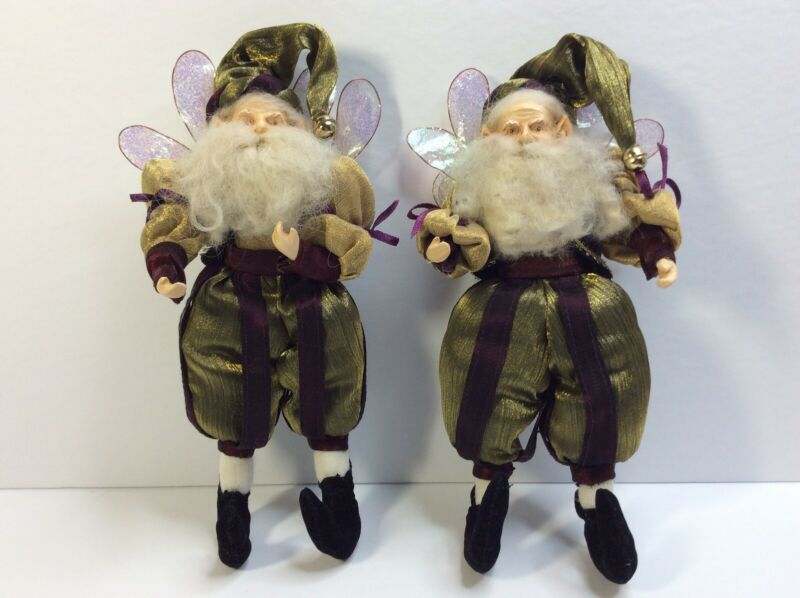 (2) Mark Roberts Fairy Elf Christmas Santa Doll Ornament  With Angel Wings 9""