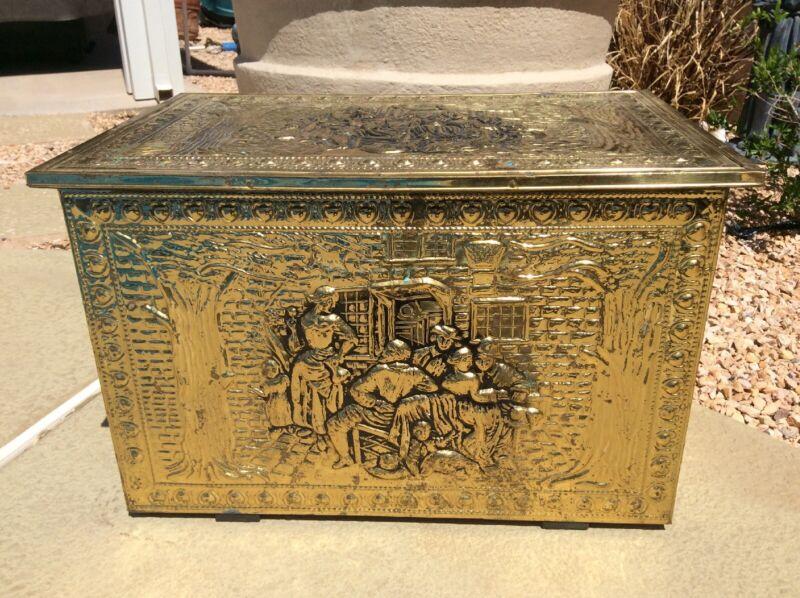 Vintage Embossed Brass Coal/Kindling Fireplace Box