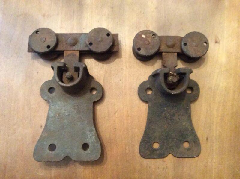 Vintage Antique Heavy Duty Cast Iron Set Of 2 Barn Door Rollers In