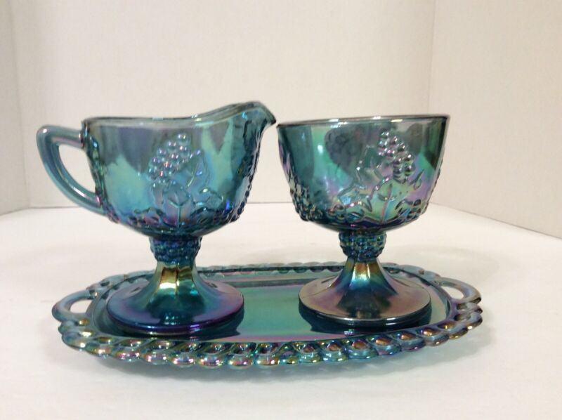 Vgt Indiana Blue Carnival Glass Harvest Grape Creamer & Sugar Bowl w/Underplate