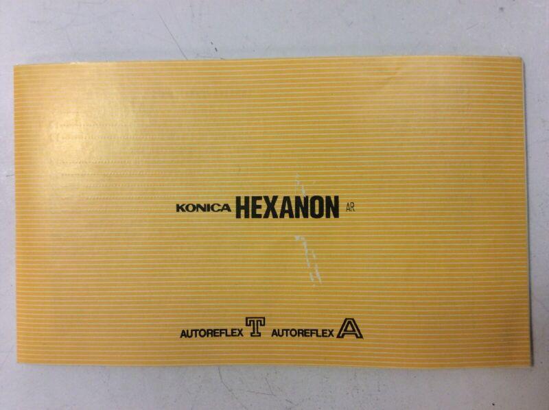 Konica Hexanon Autoreflex T Autoreflex A Lens Catalog Lens Feature Descriptions
