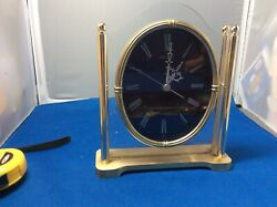 Seiko Quartz Lucite And Brass Mantel Clock, Japan.