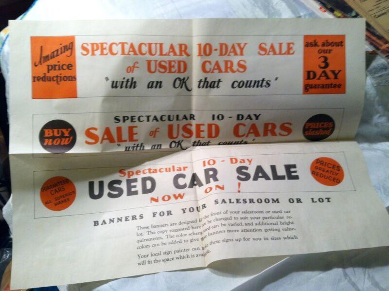Unused Paper Banner Ok Chevrolet Used Car Sale Spectacular 10 Day Sales Ebay