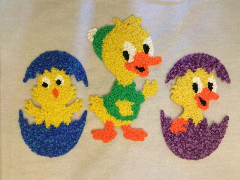 Lot of 3 Vintage Melted Plastic Popcorn Easter Decorations 1 Duck 2 Chicks