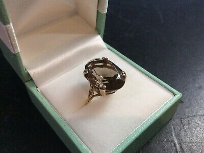 Vintage 9Ct Gold Ring With Smoky Quartz Stone, UK Size N1/2, HM: London 1977