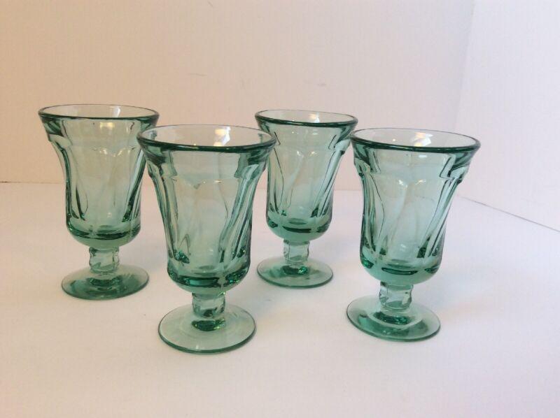 "4 Fostoria Glass Jamestown Green Juice Glass Goblet 4 3/4"""