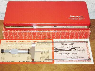 Starrett 0-3 Inch Depth Micrometer Set No 440 - Made In Usa