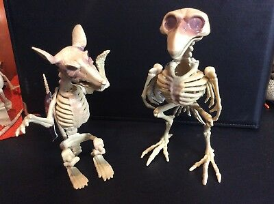 Lot Of 2 Skeleton Bird And Rat Plastic Halloween Decor Decoration NEW NWT