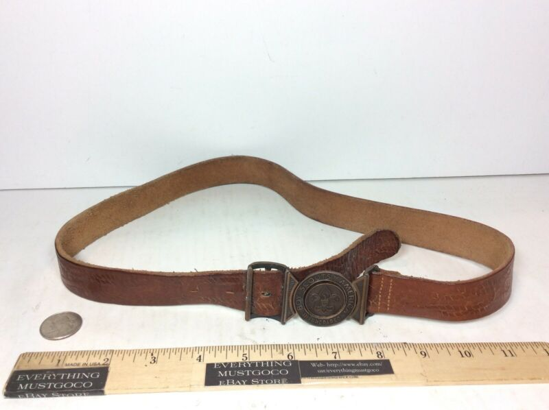 NICE RARE VTG BSA Boy Scouts of America Be Prepared Belt Leather W/ Buckle Clip