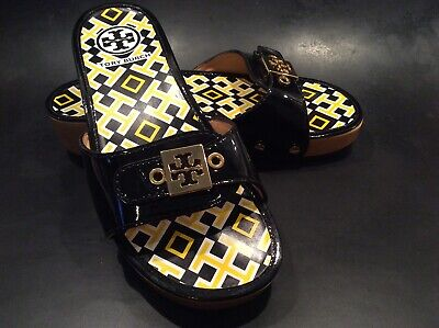 TORY BURCH Black Patent Leather Mule Sandals Slides Shoes Wood Wedge Sz 6M; NEW