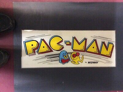 "1980'S - PAC MAN PACMAN ORIGINAL ARCADE VIDEO GAME MARQUEE 23"" x 9"" REAL NICE"