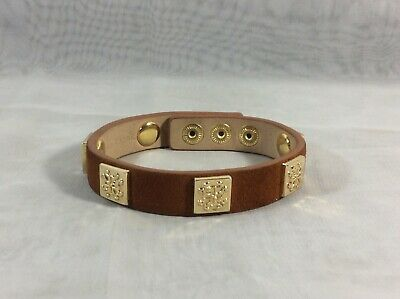 Rustic Cuff Brown Genuine Leather Adjust Wrap Bracelet With Gold Box Charms