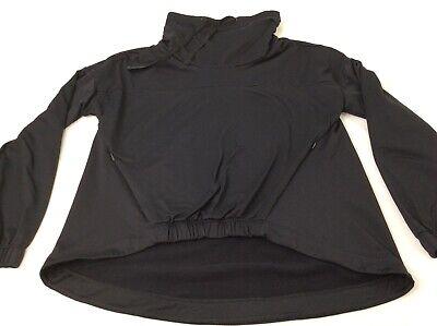 Fabletics Jet Black Womens Large Running Turtleneck Athletic Pullover Shirt EUC