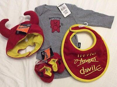 Little Devil Bib - 0-3 Month Little Devil One Piece Outfit w/Hat~Booties~Bib~Halloween Costume~NWT