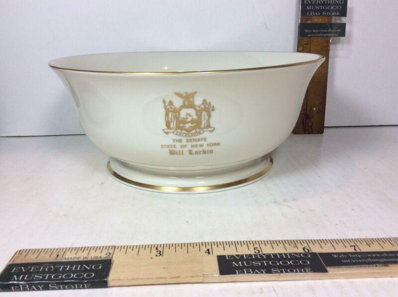 Senator Bill Larkin NY New York Political Advertising VTG Lenox Bowl w/ Gold Rim
