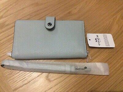 Coach Small Wristlet Pebbled Leather Phone Case Purse Sky Blue