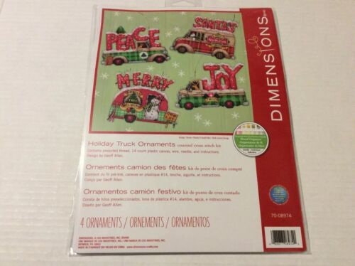Dimensions Counted Cross Stitch Kit Holiday Truck Ornaments