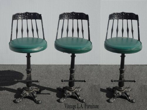 Three Vintage Spanish Revival Green Cast Iron Swivel Bar Stools Mid Century Mod