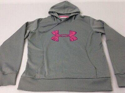 Under Armour Storm Light Gray Pink Womens Large Cold Gear Hoodie Sweatshirt EUC