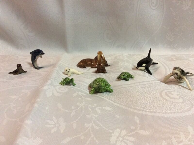 VTG Hagen Renaker Walrus, Seal. Whales, Dolphin, Turtles, Mini Ceramic Figurines